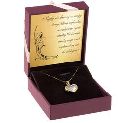 Złoty wisiorek serce łańcuszek białe złoto grawer
