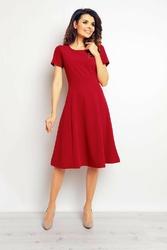 Bordowa elegancka rozkloszowana sukienka