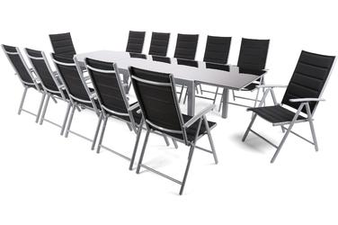 Zestaw ogrodowy stół + 12 krzeseł Jobrin 1 czarny