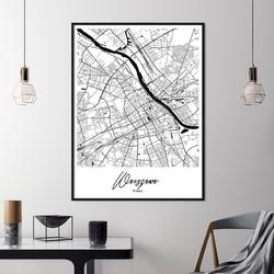 Plakat w ramie - mapa warszawy , wymiary - 30cm x 40cm, ramka - czarna