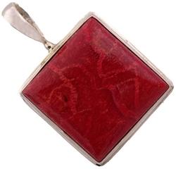 Moko srebrny wisiorek koral naturalny czerwony duży romb