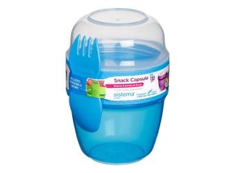Pojemnik na sałatkę 515 ml, snack capsule™ to go™, niebieski, sistema®