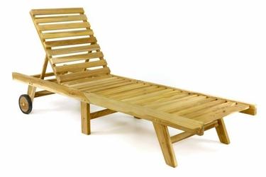 Leżak ogrodowy 200 x 57 x 34 cm, divero z drewna tekowego