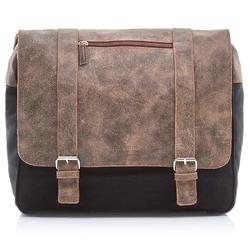 Skórzana torba męska paolo peruzzi adventure ga133 czarno-jasnobrązowa - czarny  j. brązowy