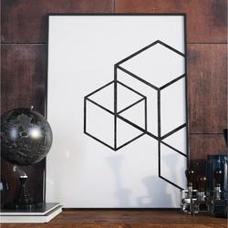 Plakat w ramie - minimalist cubes , wymiary - 40cm x 50cm, ramka - biała