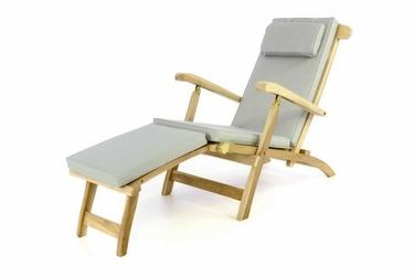 Leżak z drewna tekowego z podnóżkiem i poduszką