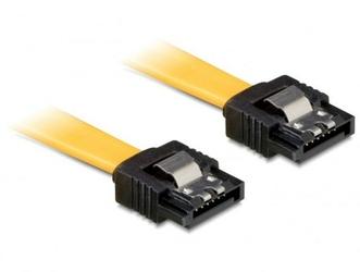 Delock Kabel SATA 6Gbs 50cm prostyprosty metalowe zatrzaski żółty