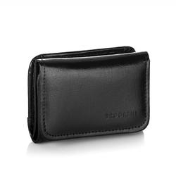 Skórzany portfel damski brodrene a-09 czarny - czarny