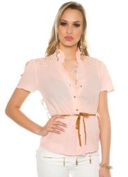 Koszula damska w kolorze koralowym, zdobiona jetami | bawełniana bluzka koszulowa 6099