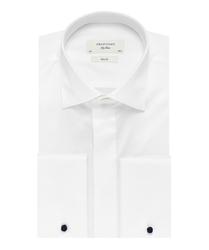 Elegancka biała koszula smokingowa profuomo sky blue do muchy, mankiety na spinki, kryta listwa. 43
