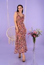 Maxi sukienka w kwiaty na ramiączkach -