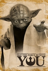 Star wars yoda - may the force be with you - plakat