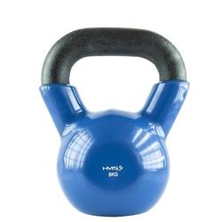 Hantla winylowa żeliwna kettlebell 8 kg - hms - 8 kg  niebiesko-czarny
