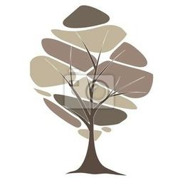 Naklejka abstrakcyjne drzewo z czerwonymi kwiatami . ilustracji wektorowych