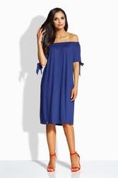 Granatowa sukienka dresowa z odkrytymi ramionami