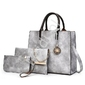 Elegancki zestaw torebek w kolorze szarym | komplet duża torebka z elegancką kopertówką i saszetką
