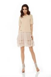 Sukienka z falbaną rękaw 34 beżowa