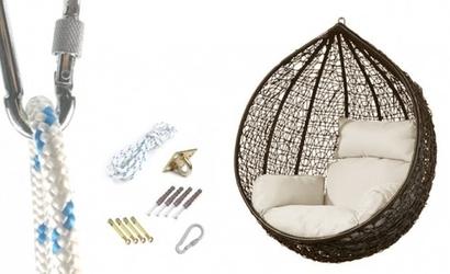 Fotel wiszący bujany kosz huśtawka kokon gniazdo brązowy mocowanie