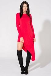 Czerwona sukienka asymetryczna dzianinowa z długim rękawem