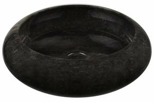 Umywalka marmurowa nablatowe czarna okrągła