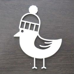 Drewniana dekoracja Ptaszek w czapce