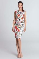 Ecru kwiecista sukienka z pionowymi falbankami