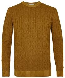 Sweter z fakturą musztardowy s