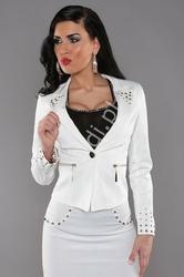 Marynarka damska biała w eleganckim stylu | żakiet młodzieżowy v924