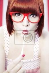 Plakat dziewczynka z gumy do żucia