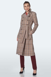 Dwurzędowy płaszcz w kratkę - beżowy