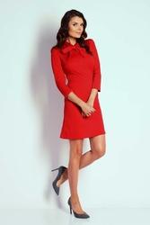 Wizytowa Taliowana Sukienka z Wiązaniem Czerwona