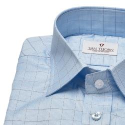 Niebieska koszula van thorn w kratę z kołnierzykiem półwłoskim  44