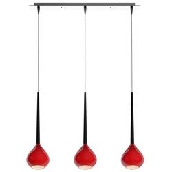 Czerwona lampa wisząca z trzema szklanymi kloszami libra