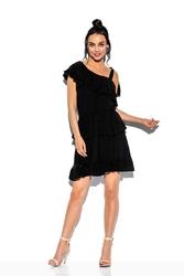 Czarna zwiewna sukienka wiązana na jedno ramię