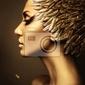 Obraz piękna kobieta w kapeluszu z piór złota