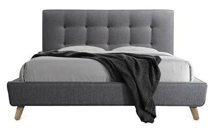 Łóżko tapicerowane maros 160x200 cm, zagłówek, szare