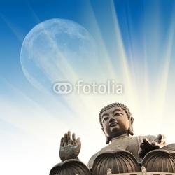 Board z aluminiowym obramowaniem Statua Buddy w promienie światła nad błękitne niebo i księżyc w pełni