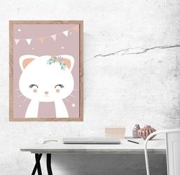 Kotek ciemnoróżowe tło - plakat wymiar do wyboru: 42x59,4 cm