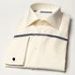 Śmietankowa  jasne ecru klasyczna koszula normal fit z półwłoskim kołnierzykiem, mankiety na spinki 38