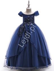 Granatowa długa suknia dla dziewczynki na wesele, bal 213