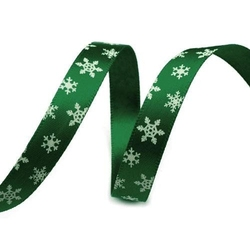 Wstążka świąteczna płatki śniegu 10 mm 1m