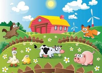 Farma i zwierzaki - fototapeta