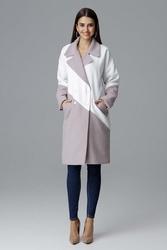 Beżowo biały dwukolorowy płaszcz dwurzędowy