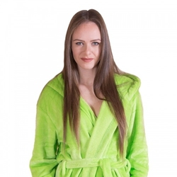 Gruby ciepły szlafrok damski z kapturem zielony