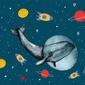 Wieloryb w kosmosie - plakat wymiar do wyboru: 50x40 cm