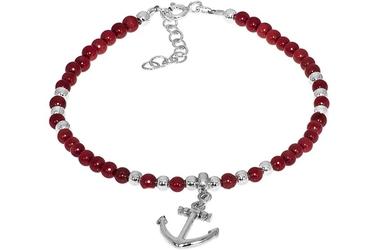 Srebrna bransoletka charms z koralem czerwonym kotwica