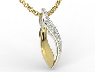 Wisiorek z żółtego i białego złota z diamentami bpw-17 - wysyłka w następny dzień roboczy - sprawdź dostępność