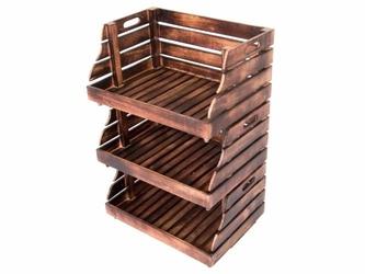 Zestaw 3 skrzynek do układania drewniane pudełko do przechowywania 49x35 cm