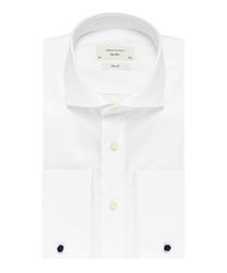 Elegancka biała koszula męska taliowana slim fit z włoskim kołnierzykiem i mankietami na spinki 38