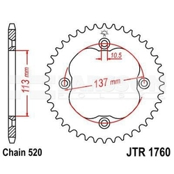 Zębatka tylna stalowa jt r1760-40, 40z, rozmiar 520 2302412 suzuki lt-r 450